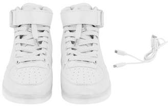 Fashionable ORANGE 2018 Women Lady Breathable LED Light Lace Up Luminous Shoes Sneaker