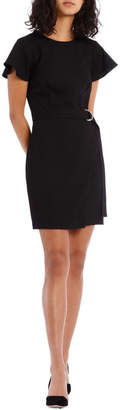 Black Wrap Skirt Pencil Dress