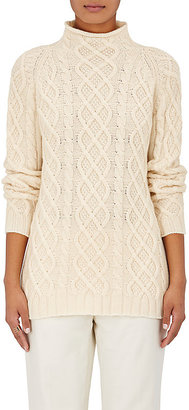 Barneys New York Women's Cashmere Cable-Knit Fisherman Sweater-IVORY $795 thestylecure.com