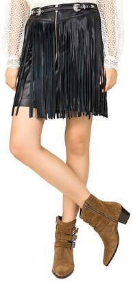 The Kooples Fringed Leather Skirt