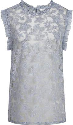 Reiss Marina - Sleeveless Lace Top in Silver Lake