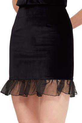 ALEXACHUNG Organza Frill Hem Skirt