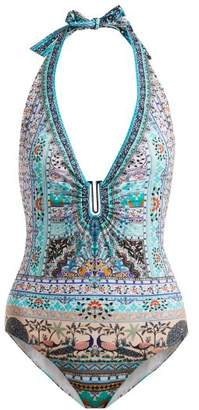 Camilla The King And I U Ring Halterneck Swimsuit - Womens - Blue Multi