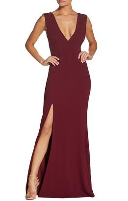 Dress the Population Sandra Plunge Crepe Trumpet Gown