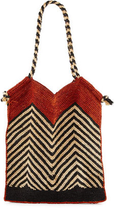 Vix Indo Chevron Woven Straw Beach Tote Bag, White $220 thestylecure.com