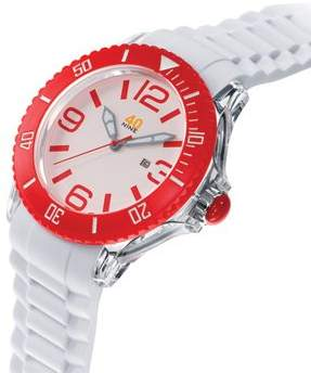 40Nine Unisex 40NINE01/RED3 Extra Large 50mm Analog Display Japanese Quartz White Watch