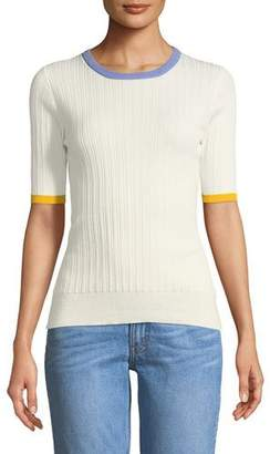 Derek Lam 10 Crosby Crewneck Short-Sleeve Rib-Knit Tee
