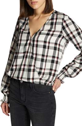 Sanctuary Cori Smocked Sleeve Plaid Top