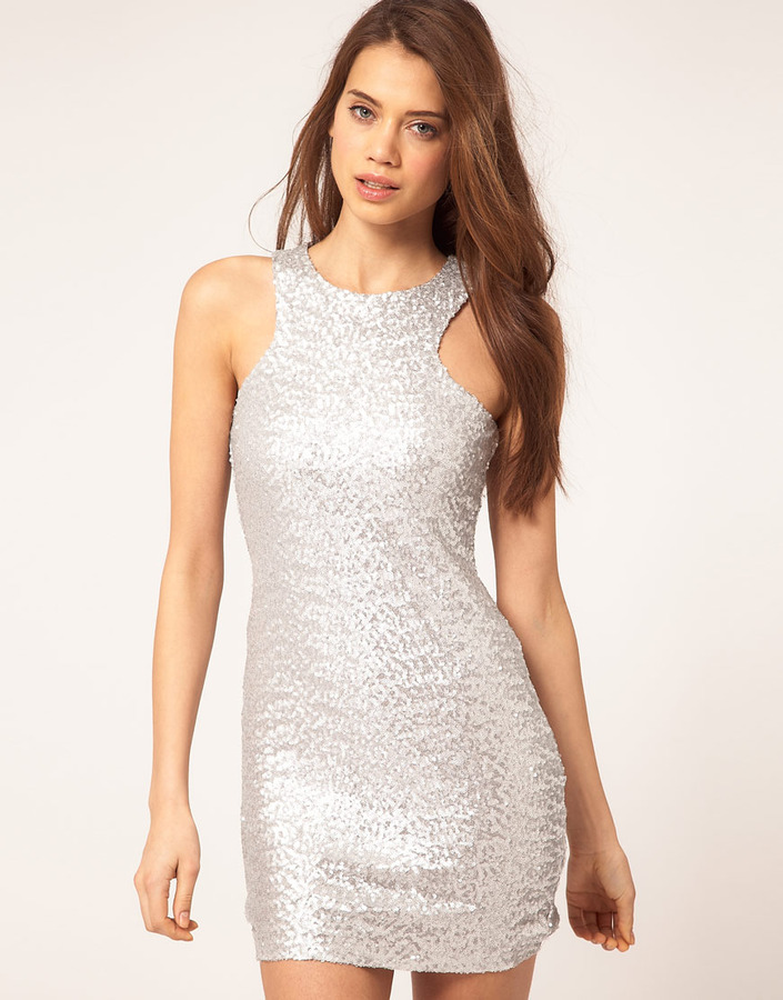TFNC Mini Dress With Cut Out Racer Sequin Detail