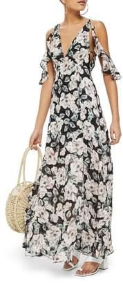Topshop Devore Floral Cold Shoulder Dress