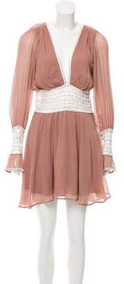 For Love & Lemons Long Sleeve Silk Mini Dress w/ Tags