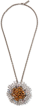 Convertible Palladium-tone Crystal Necklace - Silver