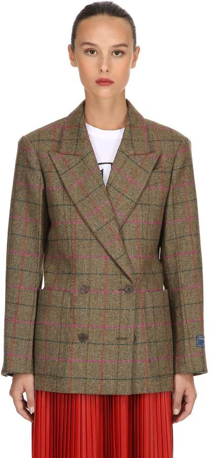 Double Breasted Wool Check Jacket