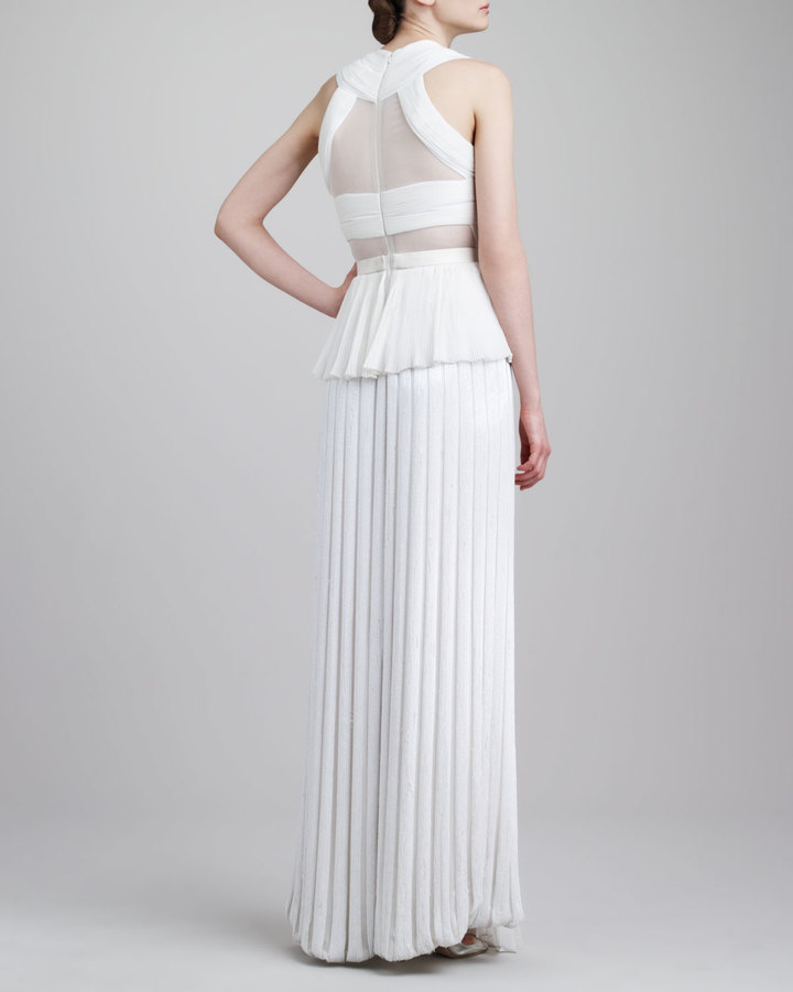 Jason Wu Sheer-Inset Pleated Peplum Gown, Ivory