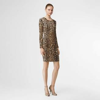 Burberry Leopard Print Stretch Jersey Mini Dress