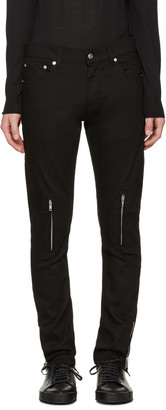 Alexander McQueen Black Leather Pockets Jeans $735 thestylecure.com