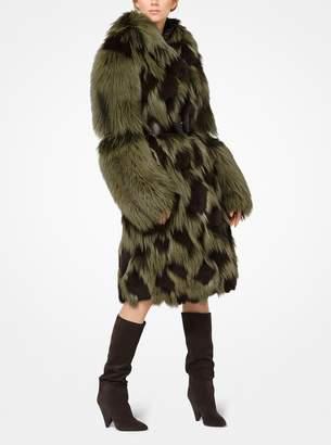 Michael Kors Leopard Intarsia Fox and Mink Coat