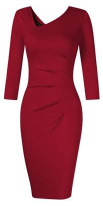 Lintimes Women Casual Fitted 3/4 Sleeve Evening Cocktail Party Tunic Pencil Dress Color:Claret Size:2XL