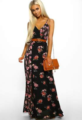1cf1de8d65d09 Pink Boutique Bahamas Vacay Black Floral Print Wrap Maxi Dress
