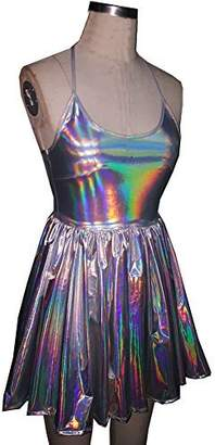 pinda Summer Musical Festival Rave Clothes Holographic Wrap Circle Skater Dress (XL, )