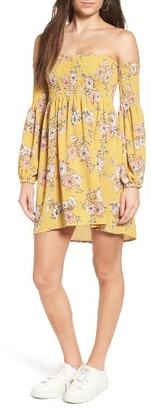 Women's Socialite Smocked Off The Shoulder Dress $49 thestylecure.com