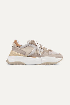 Tod's Leather, Mesh And Nubuck Sneakers - Gray