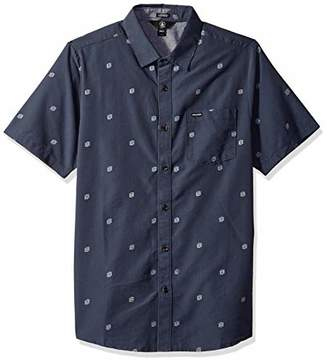 Volcom Men's Frequency Dot Modern Fit Woven Button Up Short Sleeve Shirt,Extra