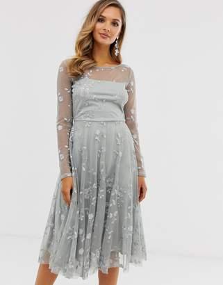 City Goddess mesh detail skater dress