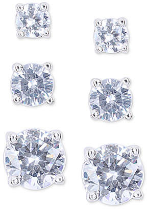 Nine West Silver-Tone Crystal Small to Large Trio Earring Set