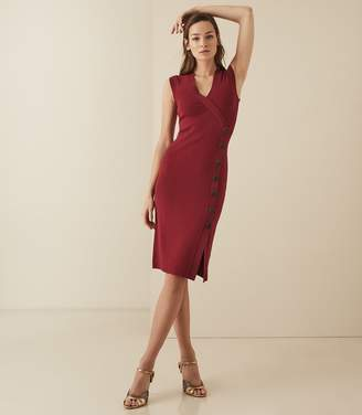 Reiss ELENI KNITTED BODYCON DRESS Berry