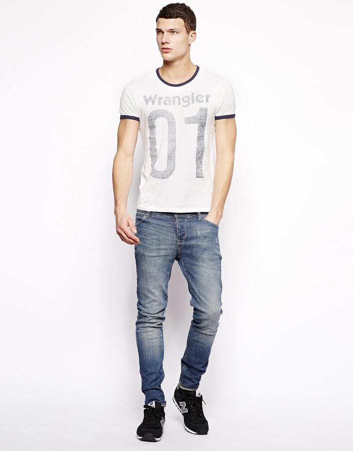 Wrangler T-shirt Slim Fit Slub Logo Ringer