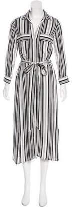 L'Agence Striped Midi Dress