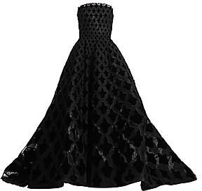 Oscar de la Renta Women's Strapless Velvet & Lace Ball Gown