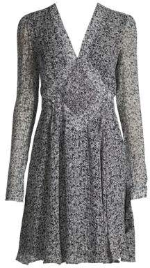 Derek Lam Smocked Long-Sleeve Silk A-Line Dress