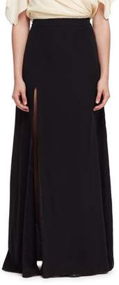 Lanvin Side-Slit A-Line Maxi Skirt, Black $2,565 thestylecure.com