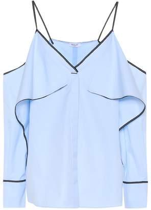 Thierry Mugler Cold-shoulder cotton shirt
