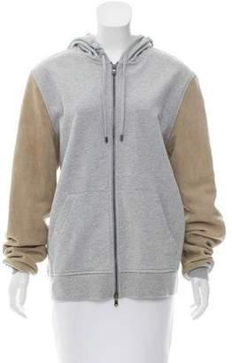 Michael Kors Leather-Trimmed Hooded Sweatshirt