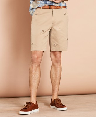 Brooks Brothers Embroidered Car Cotton Twill Shorts