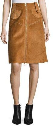 Derek Lam Suede Front-Zip A-Line Skirt, Chestnut $2,890 thestylecure.com