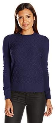 Sag Harbor Women's Petite Size Long Sleeve Braided Cable Crew Neck Cashmerlon Sweater