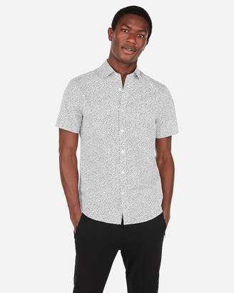 Express Slim Floral Pattern Short Sleeve Shirt