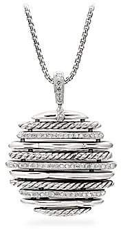 David Yurman Tides Sterling Silver& Diamond Pendant Necklace