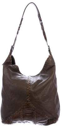 Bottega Veneta Python-Paneled Leather Hobo