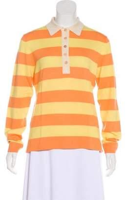 Theory Silk-Blend Stripes Long Sleeve Top