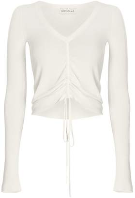 Nicholas Ruched Tie Front Knit Top