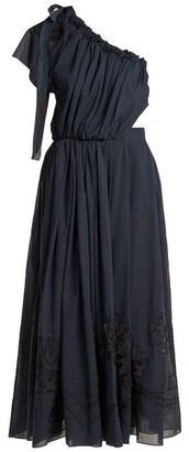 Fendi Silk Applique Cotton Voile Dress - Womens - Navy