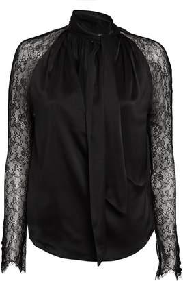 Jonathan Simkhai Silk & Lace Tie Neck Blouse