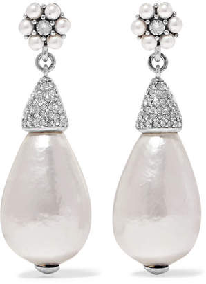 Oscar de la Renta Silver-tone, Crystal And Faux Pearl Earrings