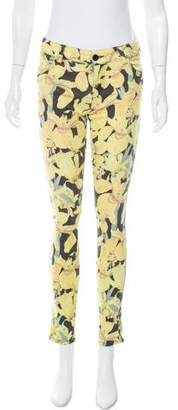 Alice + Olivia Low-Rise Floral Jeans