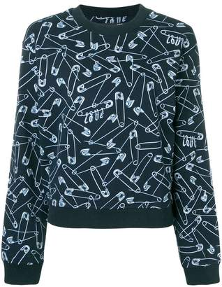 Love Moschino safety pins print sweatshirt